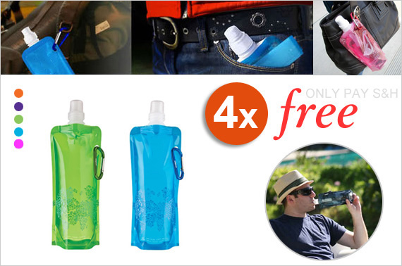 4x Flexible Water Bottle