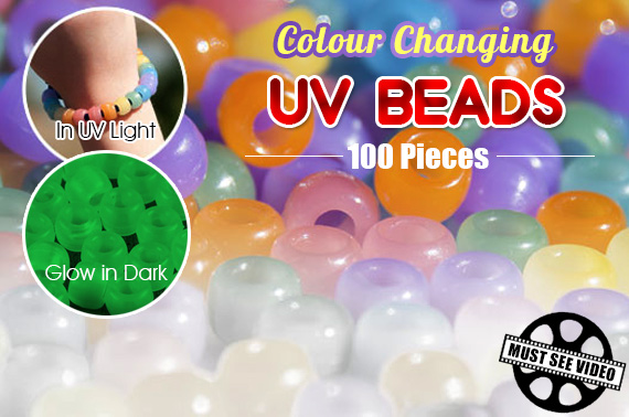100 Pieces UV Colour Changing DIY Beads