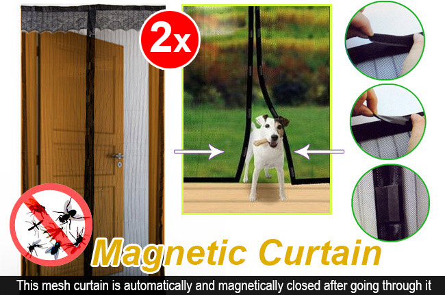 2x Magnetic Curtain (Black)