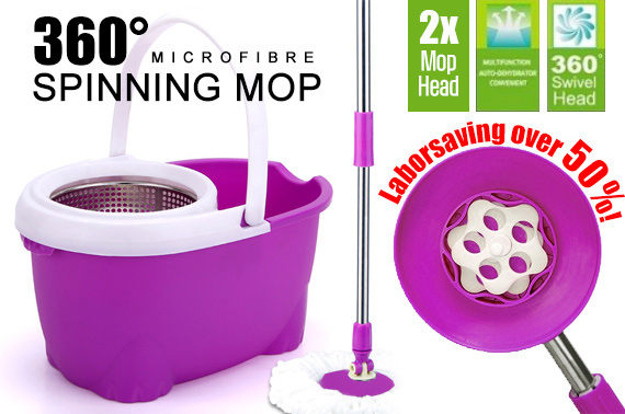2014 NEW Arrival 360 Degree Rotating Spin Mop with 2 Microfibre Mop Heads