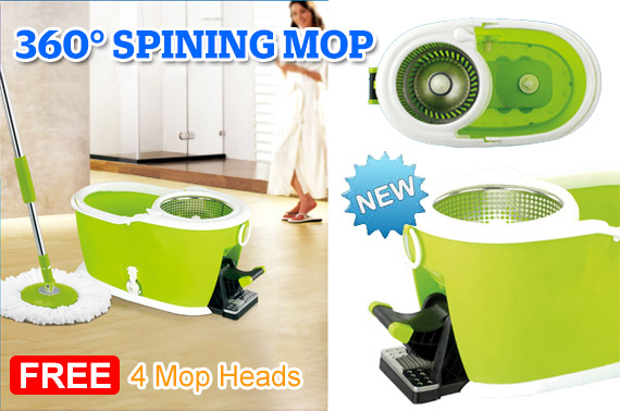 360 Degree Spining Mop w/ Stainless Steel Dry Basket & Foot Pedal