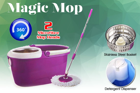NEW Magic Mop - The 360 Degree Rotating Spin Mop with 2 Microfibre Mop Heads