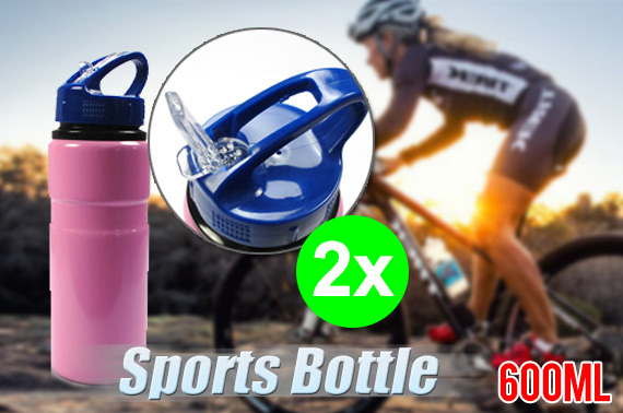2x 600ml Aluminum Sport Bottle with Drinking Straw - Pink