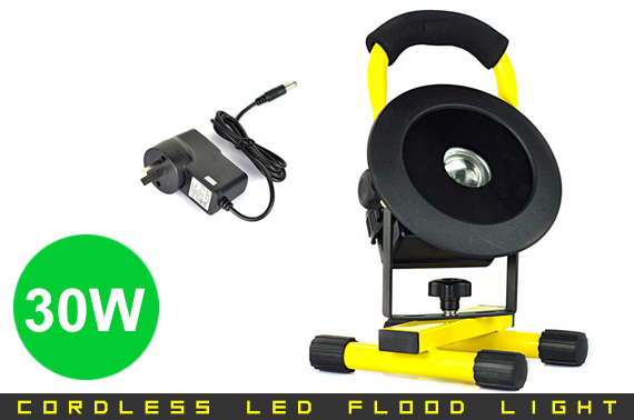 Portable 30W Cordless 2400LM Rechargeable LED Flood Light