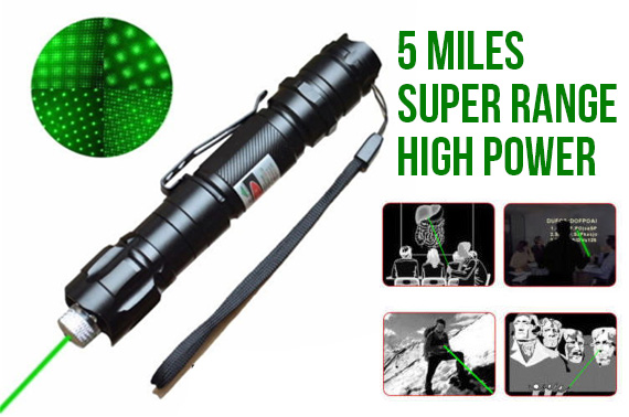 5 Mile Range Green Laser Pointer Pen + Battery