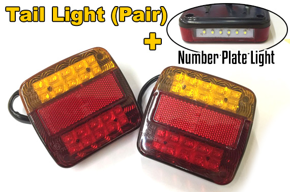 2x 20LED Square Light Indicator + Number Plate Light