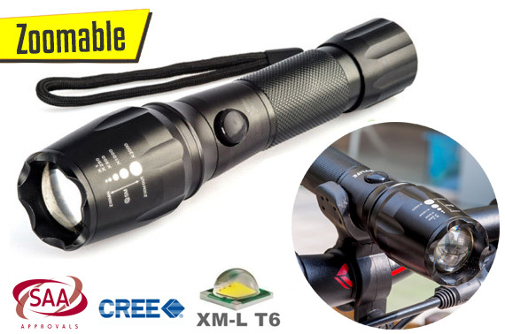 2500Lm Zoomable CREE XM-L T6 USB LED Flashlight Torch w/ Rechargeable Battery
