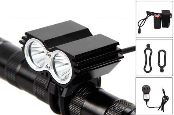 6000 Lumen Dual CREE XML T6 LED Bicycle Headlamp