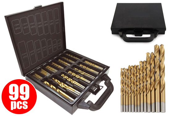 99Pcs HSS Metric Titanium Coated Drill Bit Set