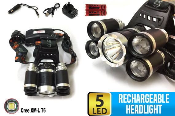9800LM CREE 5 LED Rechargeable HeadLamp