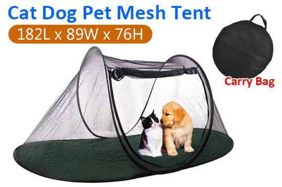 Large Pet Outdoor Folding Mesh Tent w/ Carry Bag