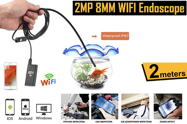2m Waterproof WIFI Endoscope Camera with 6 LEDs