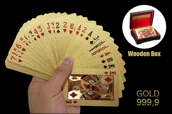 24k 99.99 Genuine Gold Plated Poker Cards with an elegant wooden box