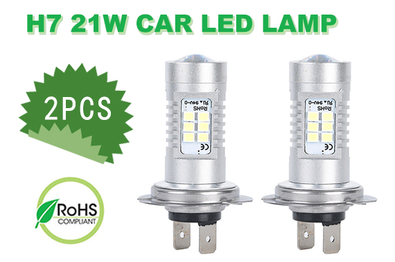 2 x 12V H7 21W Xenon White Car Head Light LED Lamp Globes