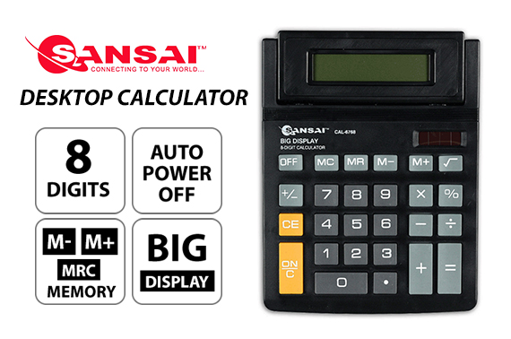 SANSAI 8 DIGITS Electronic Desktop Calculator with Adjustable Display