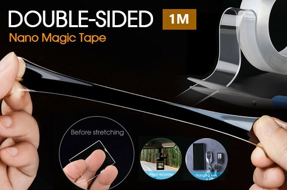 Multi-Function Nano Magic Tape Reusable Transparent Grip Tape Double Sided Craft 1M
