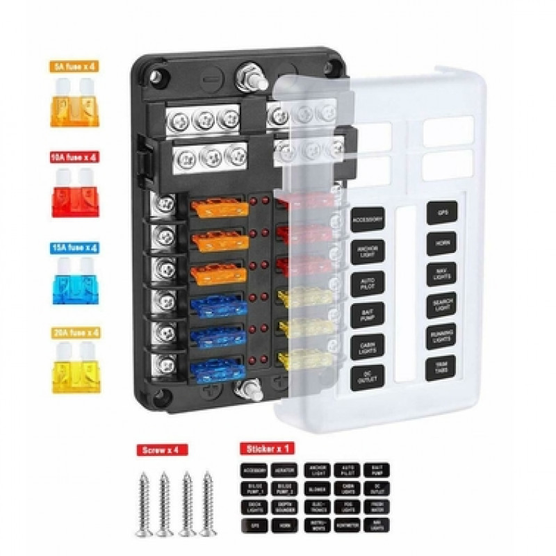 12 Way Blade Fuse Auto Block Box Holder Indicator 12V ATC ATO Circuit Car Boat