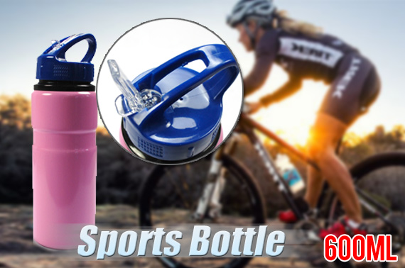 600ml Aluminum Sport Bottle with Drinking Straw - Pink