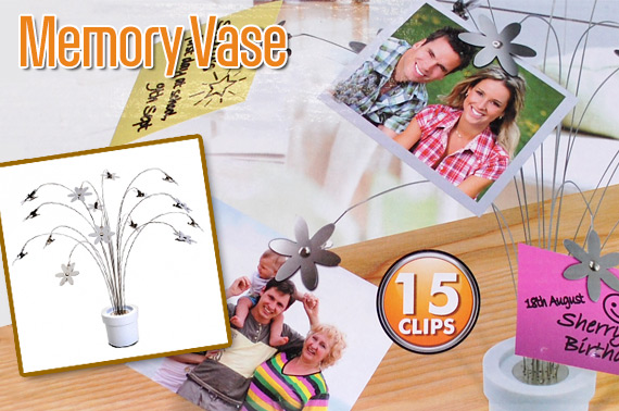 Memory Vase / Picture Holder, Hold Up to 15 Memo or Photos
