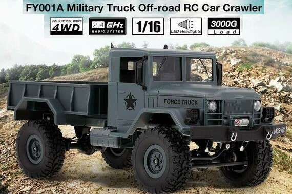 Remote Control 1/16 2.4GHz 3000G Load 4WD Military Truck Off-Road RC Car Crawler