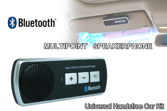 Multipoint Universal Bluetooth Handsfree Speakerphone Car Kit for Mobile Phones