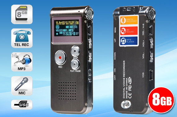 8GB Digital Voice Recorder with MP3 Player