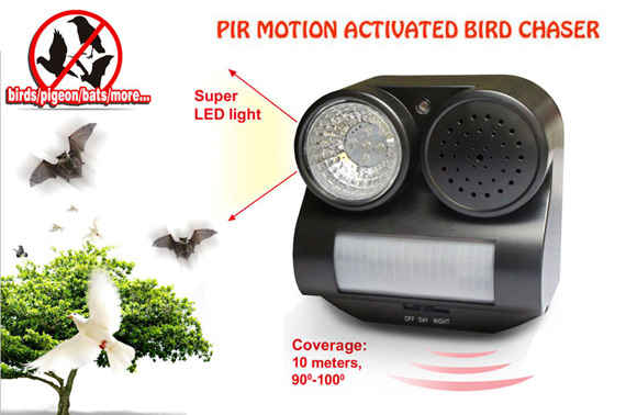 PIR Motion Activated Sound and Flashlight Animal/Bat/Bird Repeller