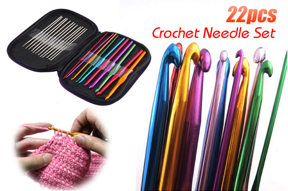 22 Piece Aluminium Crochet Needle Set