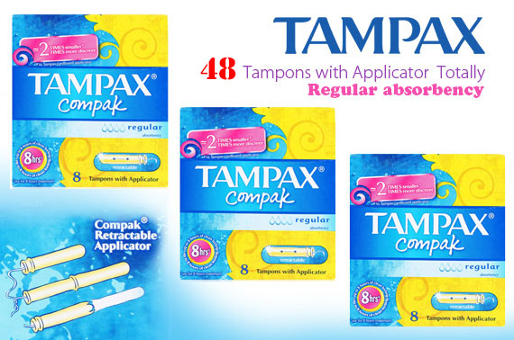 6 Packs of Tampax Compak Regular Absorbency (48 Tampons Totally)