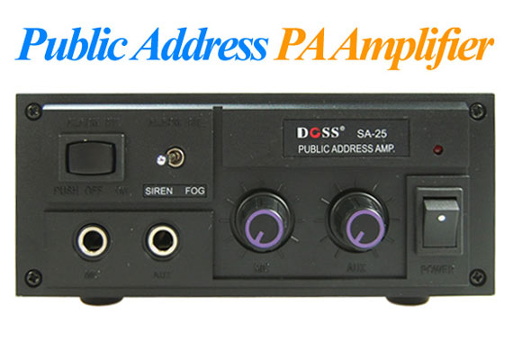 25W Public Address Amplifier with Siren / Fog Horn