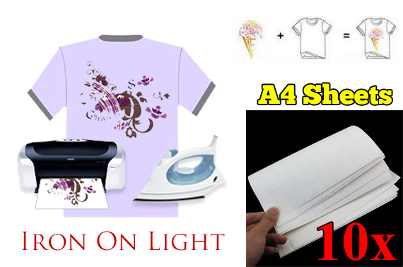 10 Sheets A4 Iron Heat Transfer Paper for Light T-Shirt