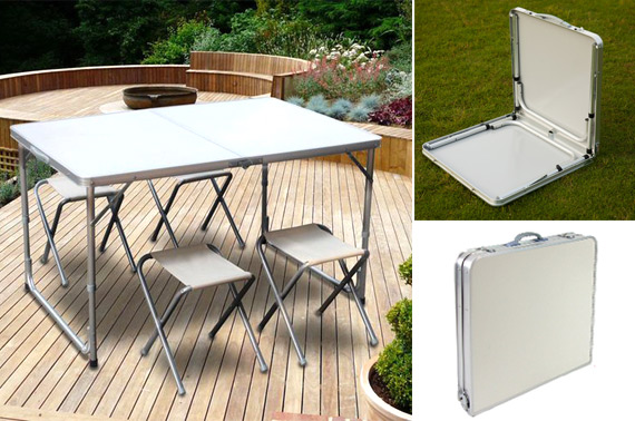 Foldable Aluminium Picnic Table with 4 Chairs
