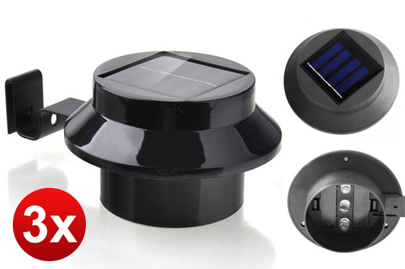 3x LED Solar Powered Garden Light - Black
