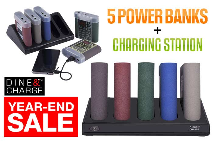End of Year Special: DINE & CHARGE 5PCS Power Bank w/ Charging Station