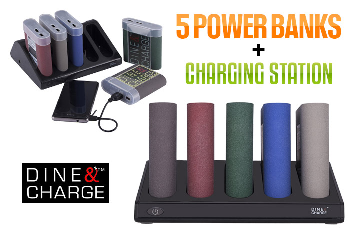 DINE & CHARGE 5PCS Power Bank w/ Charging Station
