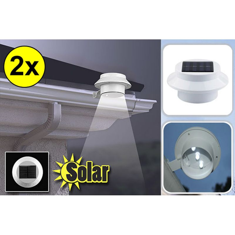 2x LED Solar Powered Garden Fence Light