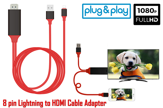 2M Lightning 8Pin to HDMI Adapter Cable