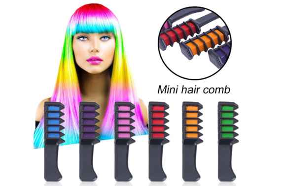 6PCS Mini Temporary Hair Chalk Dye Comb