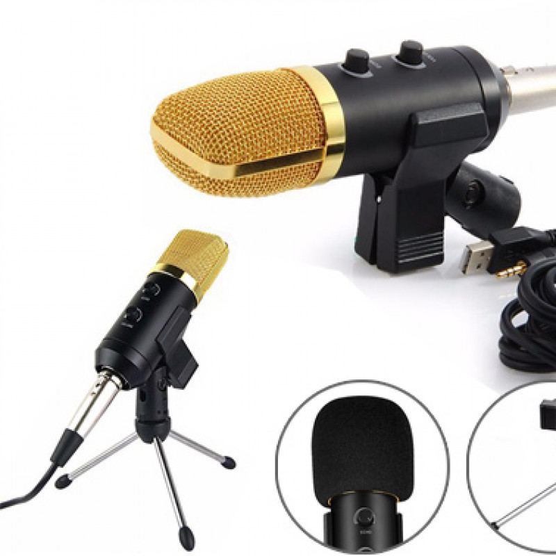 USB Condenser Sound Recording Microphone + Tripod Stand Set