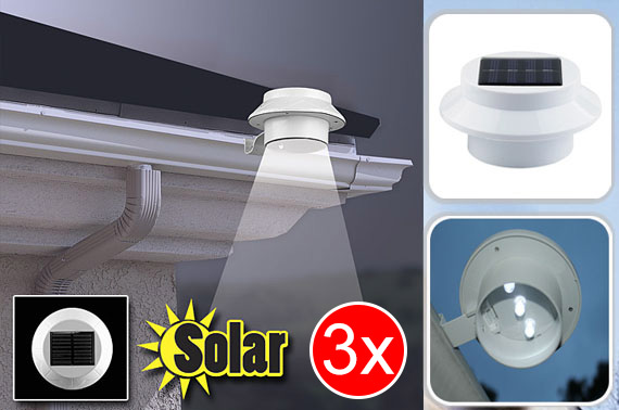 3x LED Solar Powered Garden Fence Light