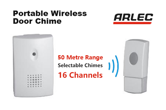Arlec Weatherproof High Quality Wireless Door Chime 50M Range Multi Channels