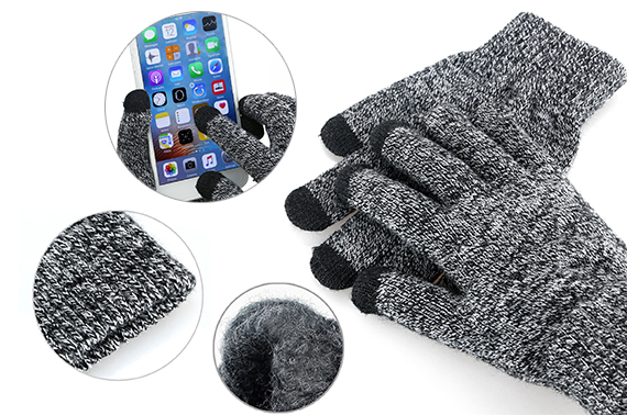 Women Men Warm Touch Screen Soft Wool Gloves