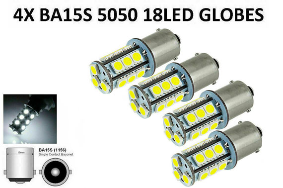 4X 18 LED BRAKE REVERSE TURN STOP TAIL LIGHT BULB 1156 BA15S CAR WHITE GLOBE 12V