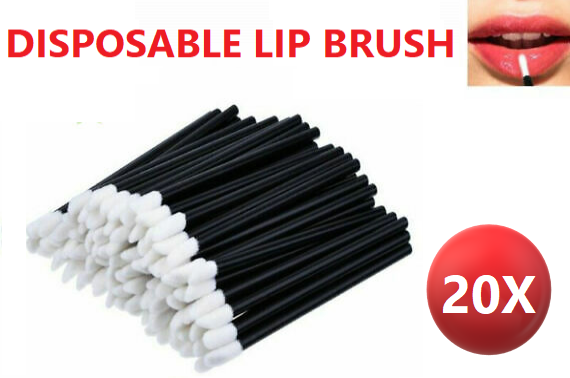 20x Disposable Lip Brush Lip Wands Gloss Lipstick Applicator Brushes black