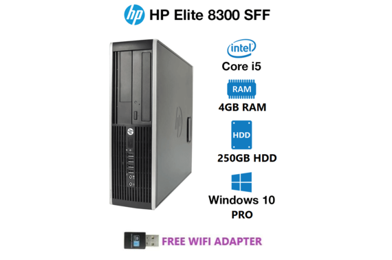 Refurbished HP Elite Desk 8300 SFF Desktop PC + Wifi Adapter