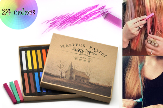 24 Colours Temporary Hair chalks