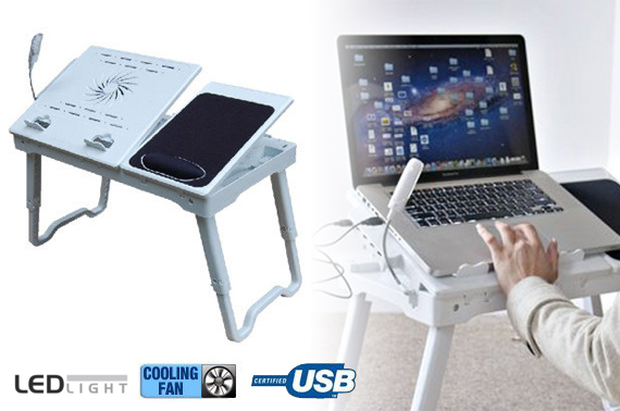 Adjustable Portable Laptop Travel Table With Cooling Fan and LED Light