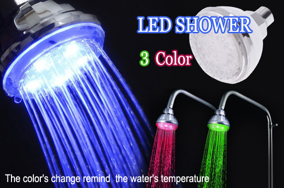 Romantic 3 Colour LED Light Shower Head
