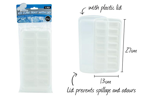1pce Plastic Ice Cube Tray w/Lid-14Cubes