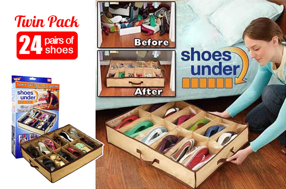 2x Shoes Under - Space Saving Shoes Organizer